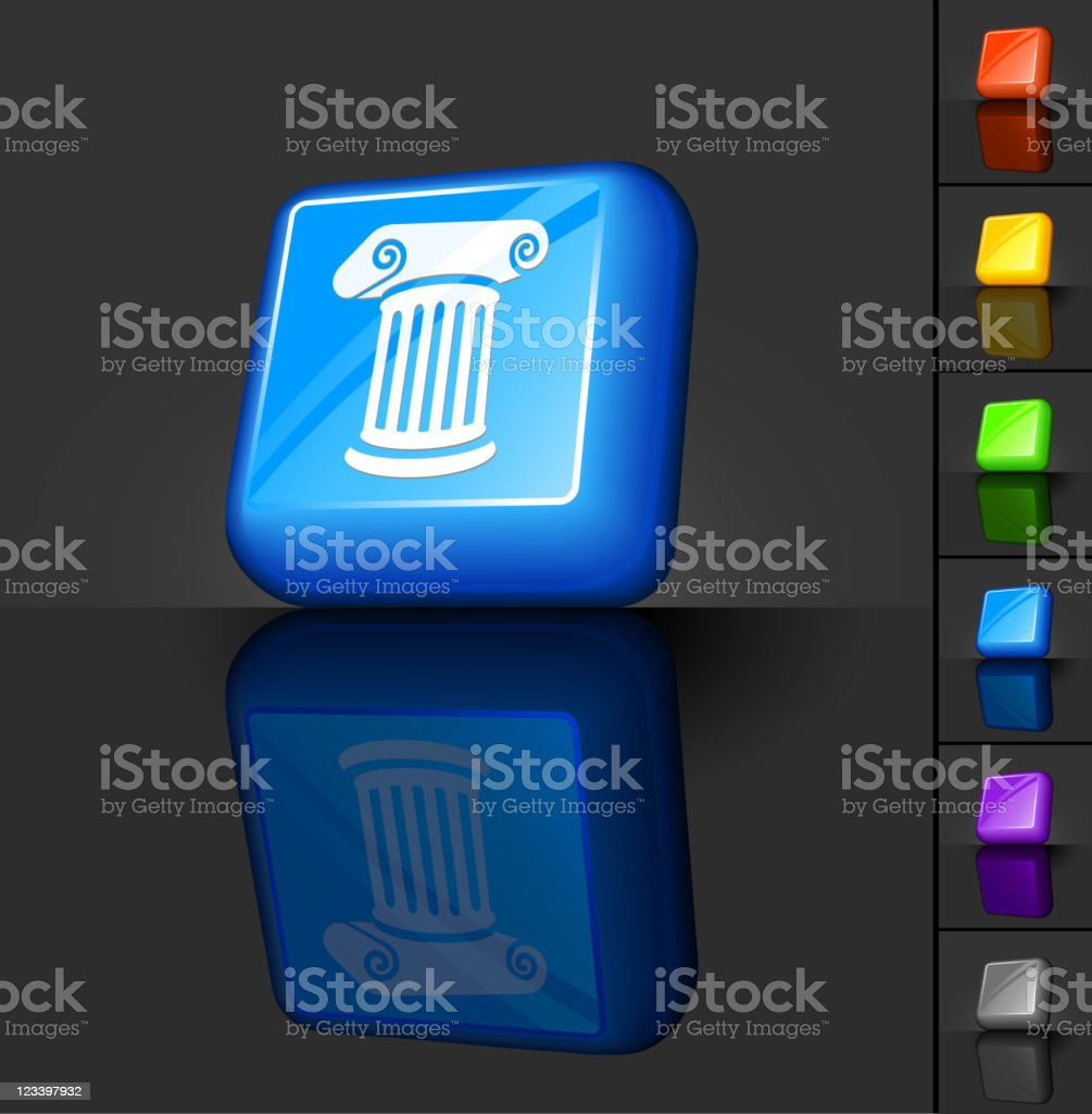 Greek column 3D button design royalty-free stock vector art