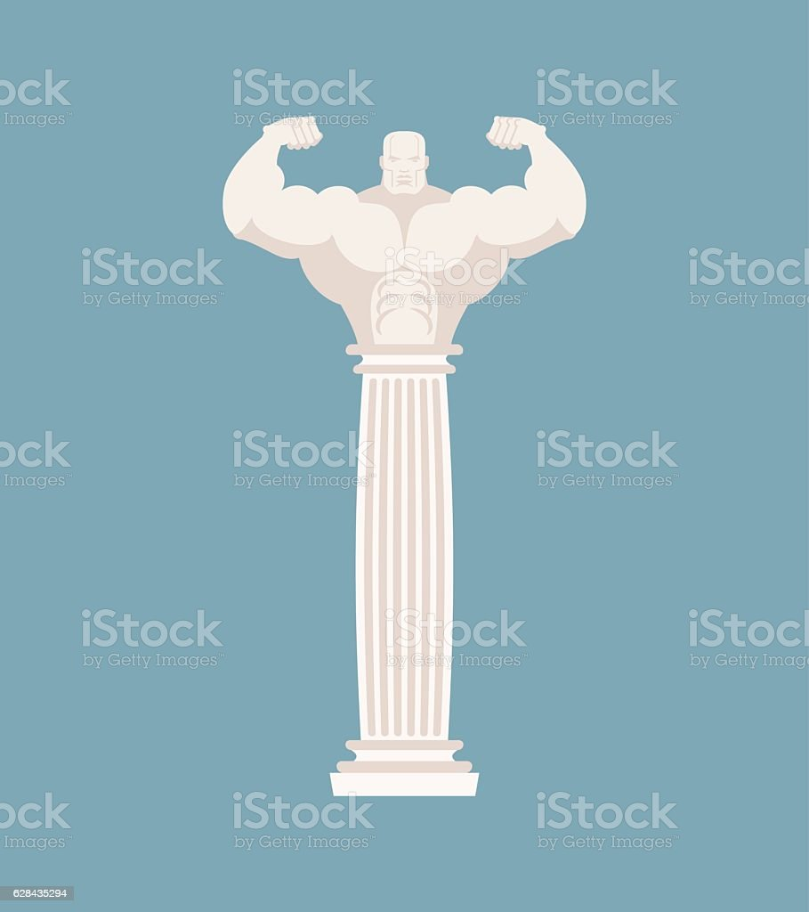 Greek column athlete. Strong architectural element for temple vector art illustration