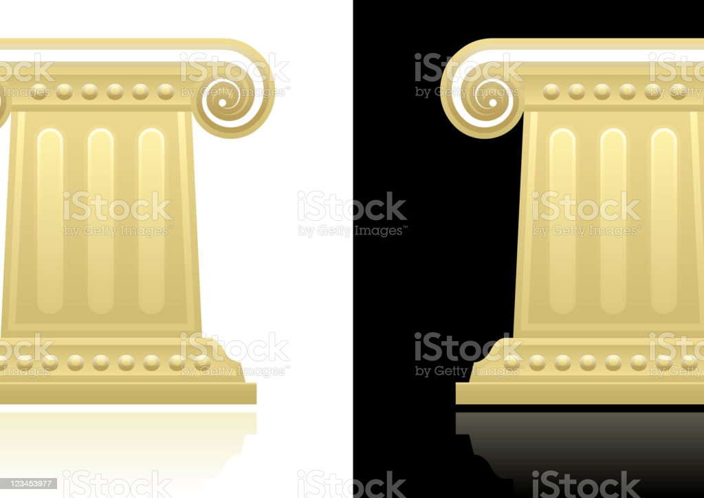 Greek column design on black and white Backgrounds royalty-free stock vector art
