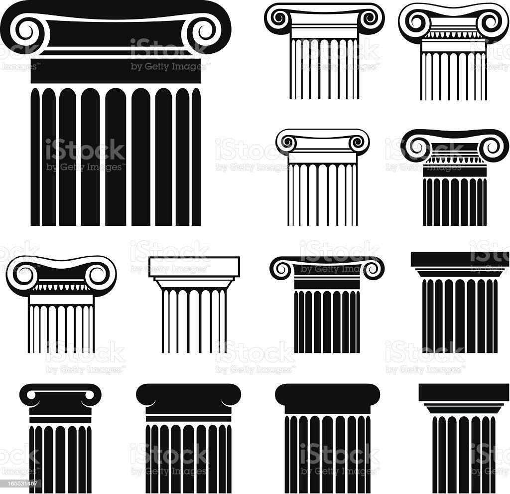 Greek columns vector art illustration