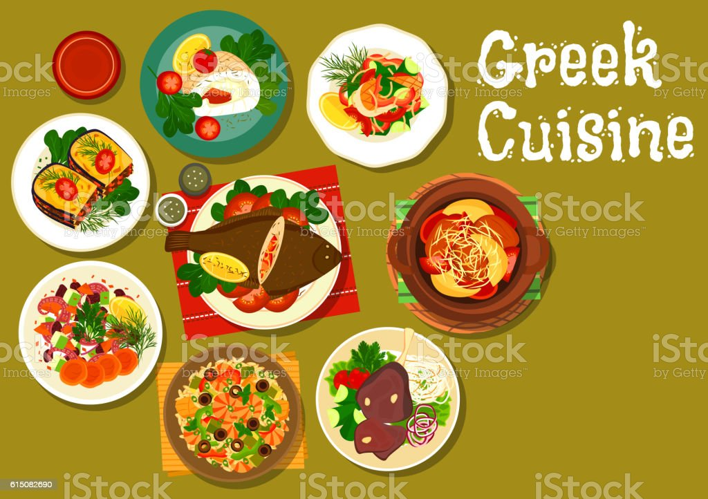 Greek cuisine dishes with fish and lamb icon vector art illustration