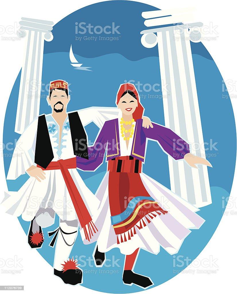 Greek Dancers royalty-free stock vector art