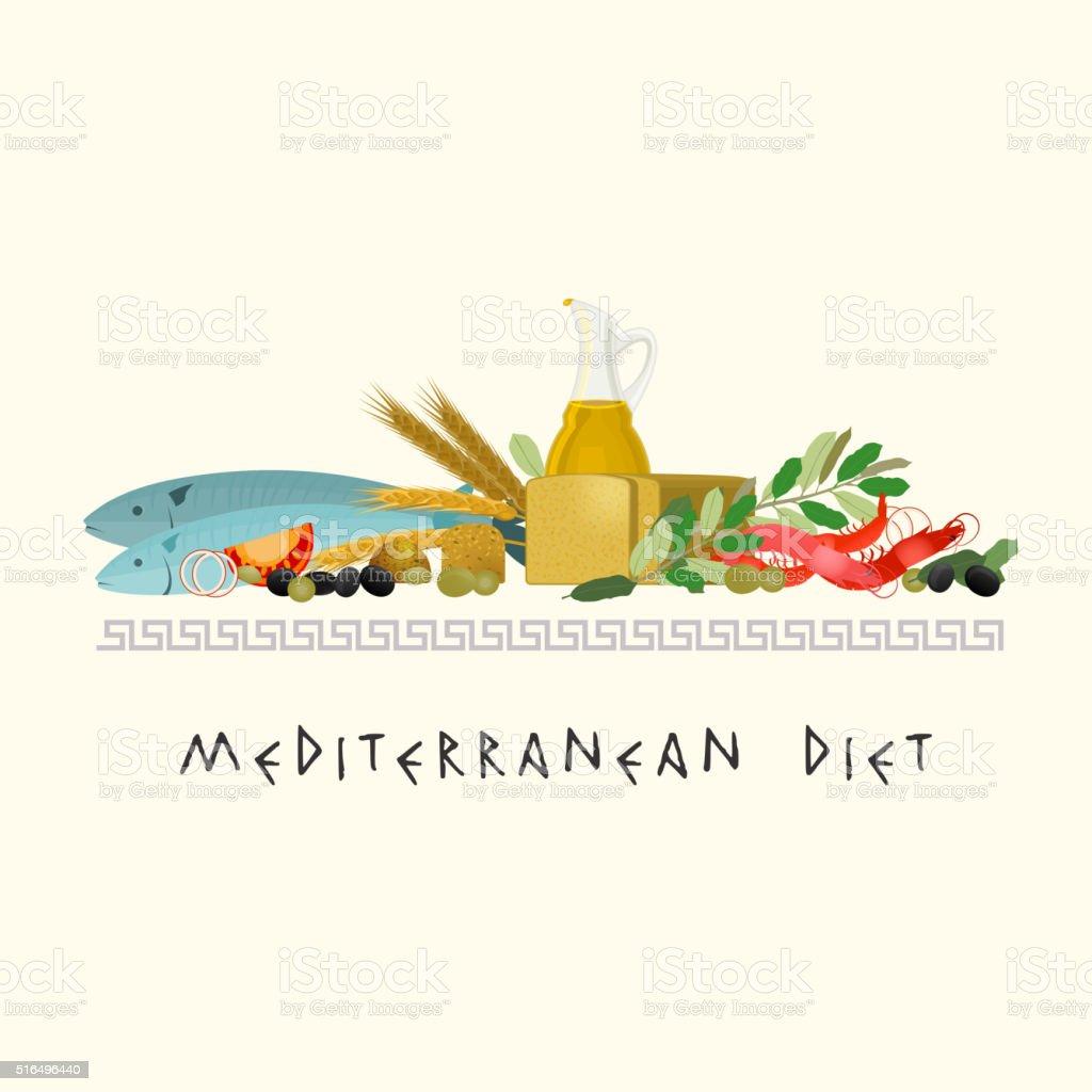 Greek Diet Image vector art illustration