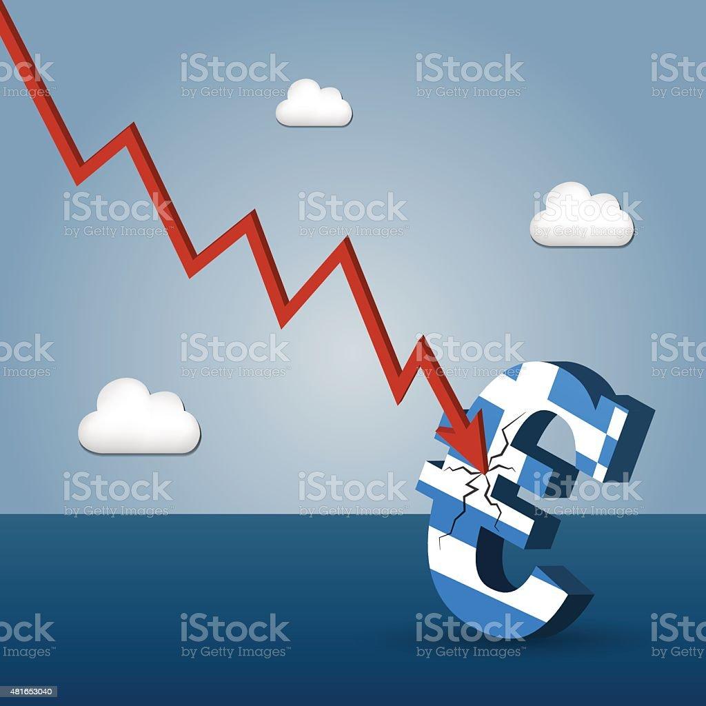 Greek Euro symbol struck by red lightning vector art illustration