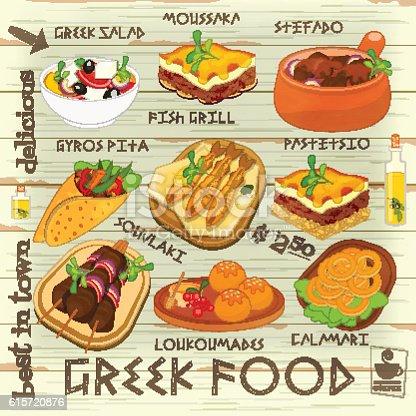 Greek food menu stock vector art 615720876 istock for Artistic cuisine menu