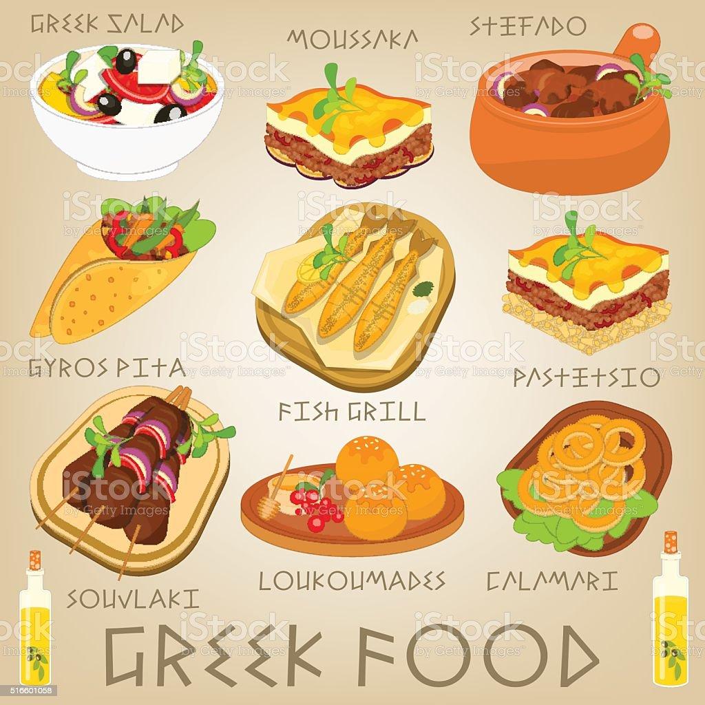 Greek Food Set vector art illustration