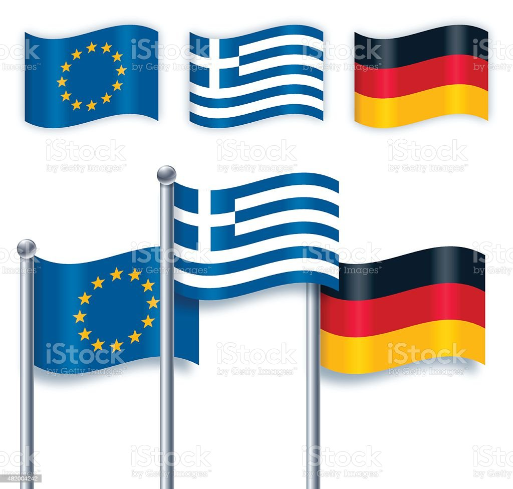 Greek, German and European Union Flags vector art illustration
