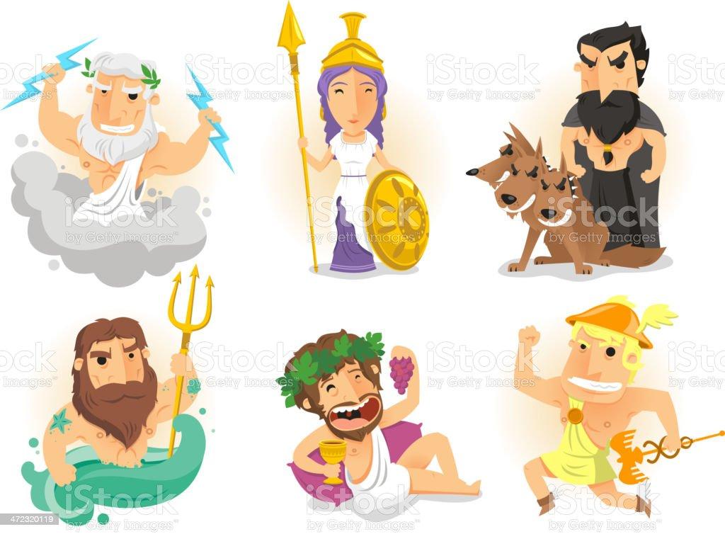 Greek Gods Athenas Zeus Hades Poseidon Hermes Bacchus Dionysus Cerberus vector art illustration