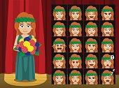 Greek Gods Demeter Costume Cartoon Emotion faces Vector Illustration