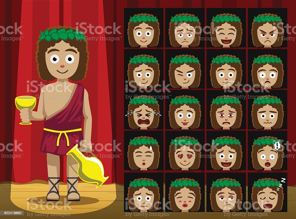 Greek Gods Dionysus Costume Cartoon Emotion faces Vector Illustration vector art illustration