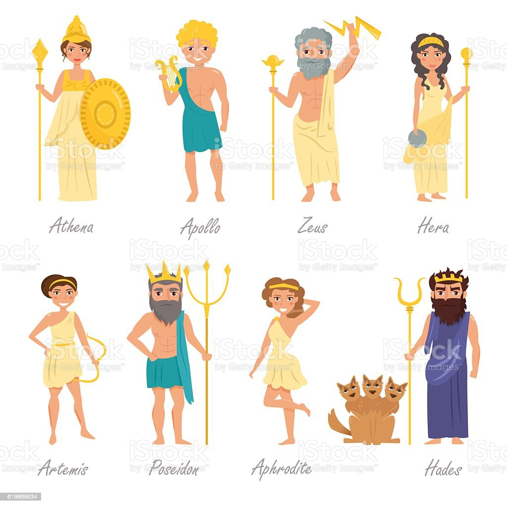 Greek gods. Flat vector art illustration