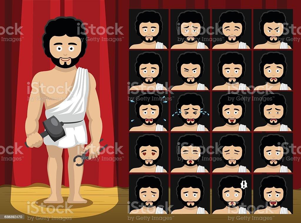 Greek Gods Hephaestus Costume Cartoon Emotion faces Vector Illustration vector art illustration