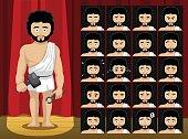 Greek Gods Hephaestus Costume Cartoon Emotion faces Vector Illustration
