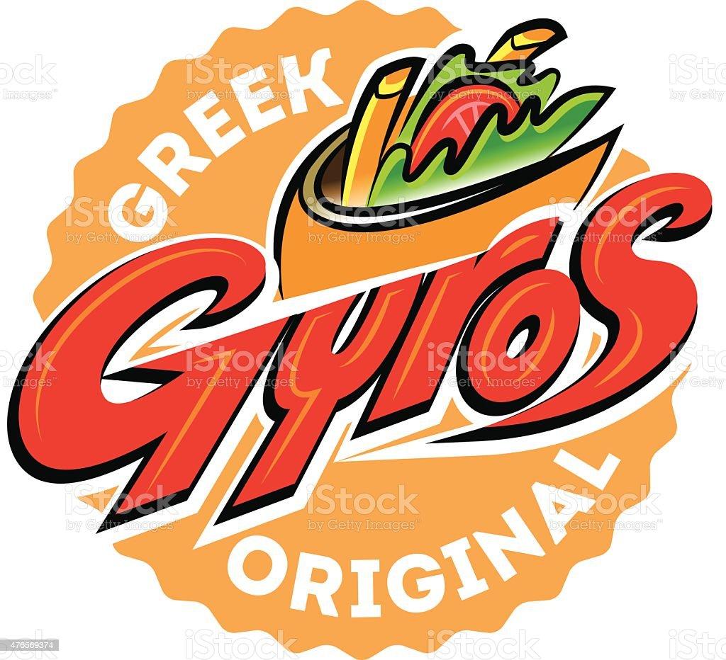 Greek gyros pita label. Vector illustration vector art illustration