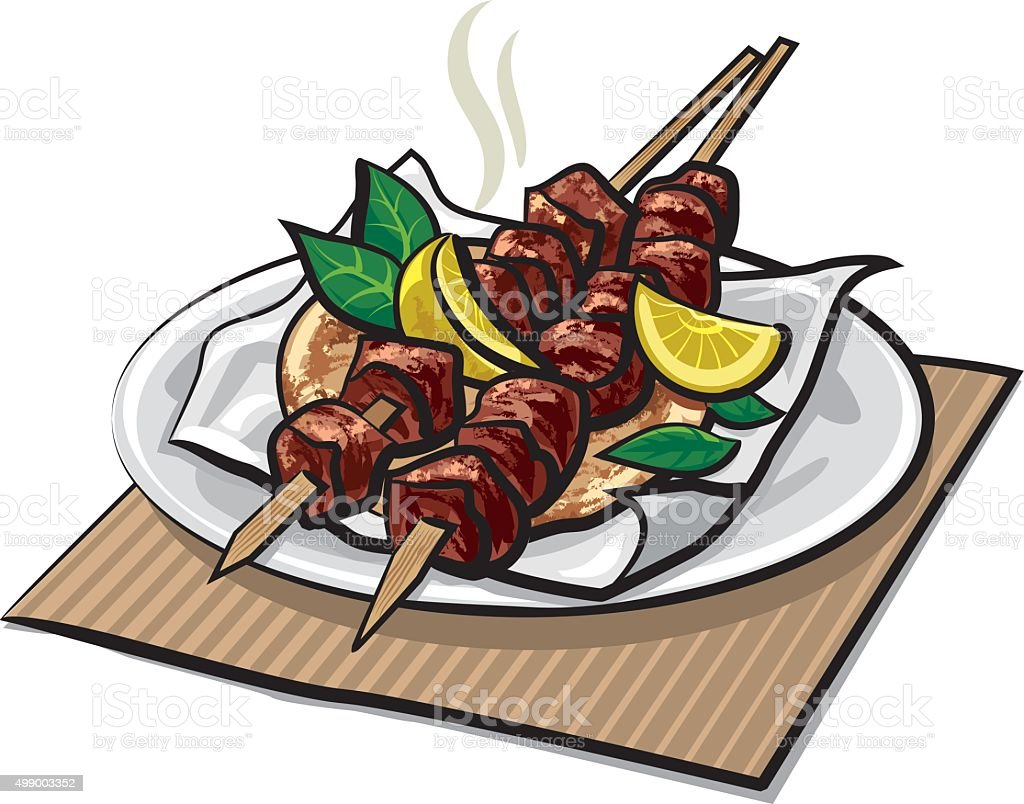 greek meat kebabs vector art illustration