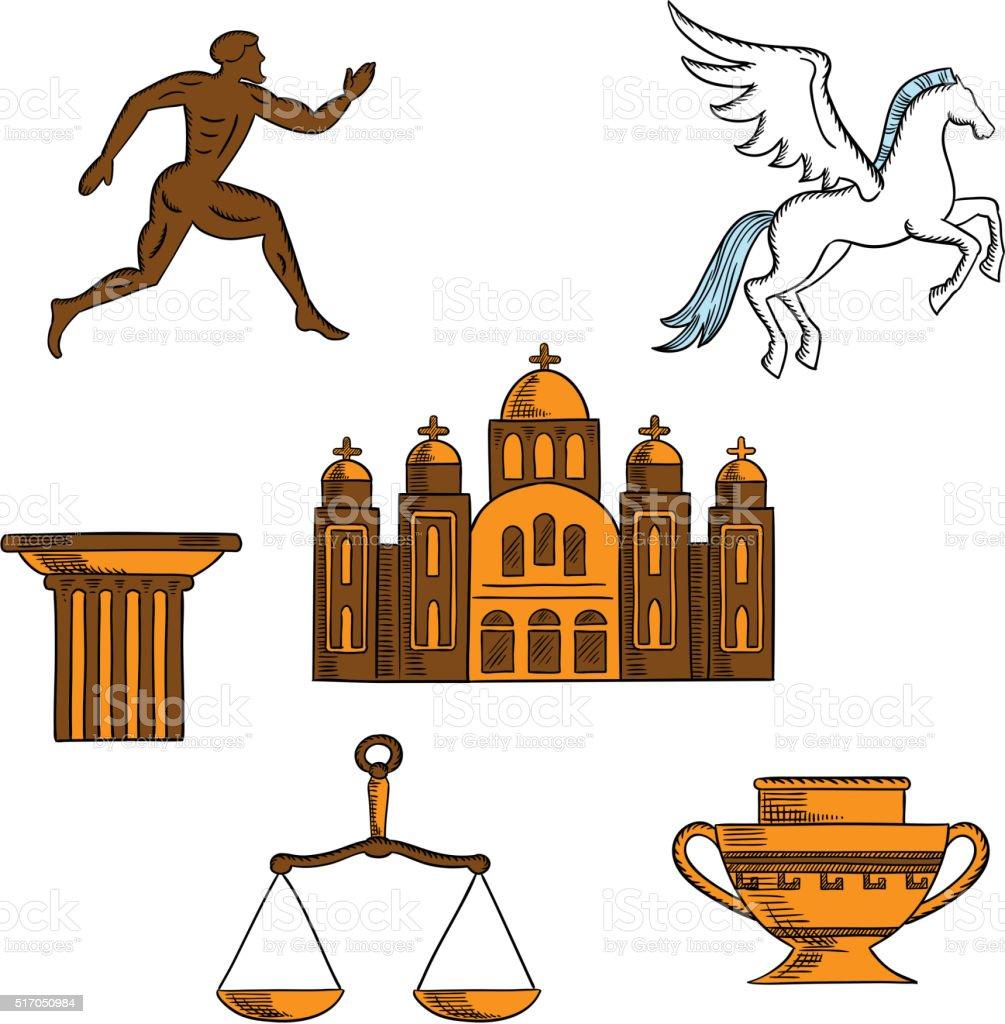 Greek mythology, art and religion icons vector art illustration