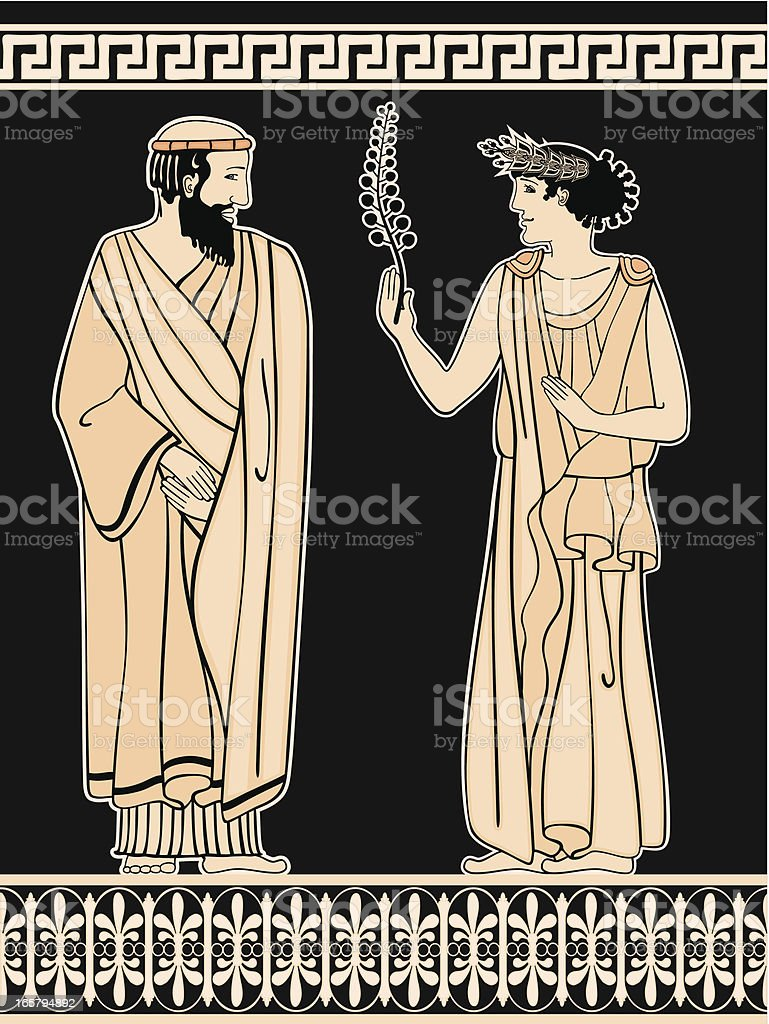 Greek ornament Man and Woman on a black background royalty-free stock vector art
