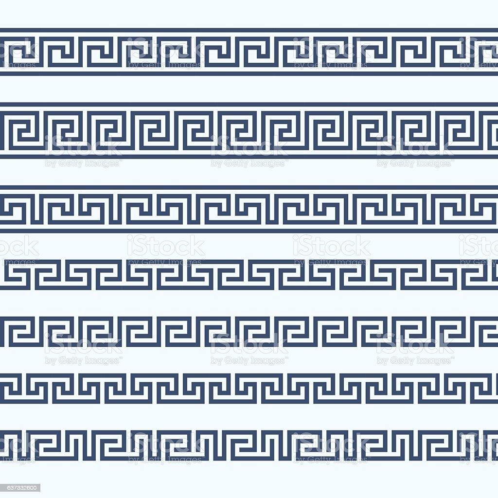 Greek pattern border - grecian ornament vector art illustration