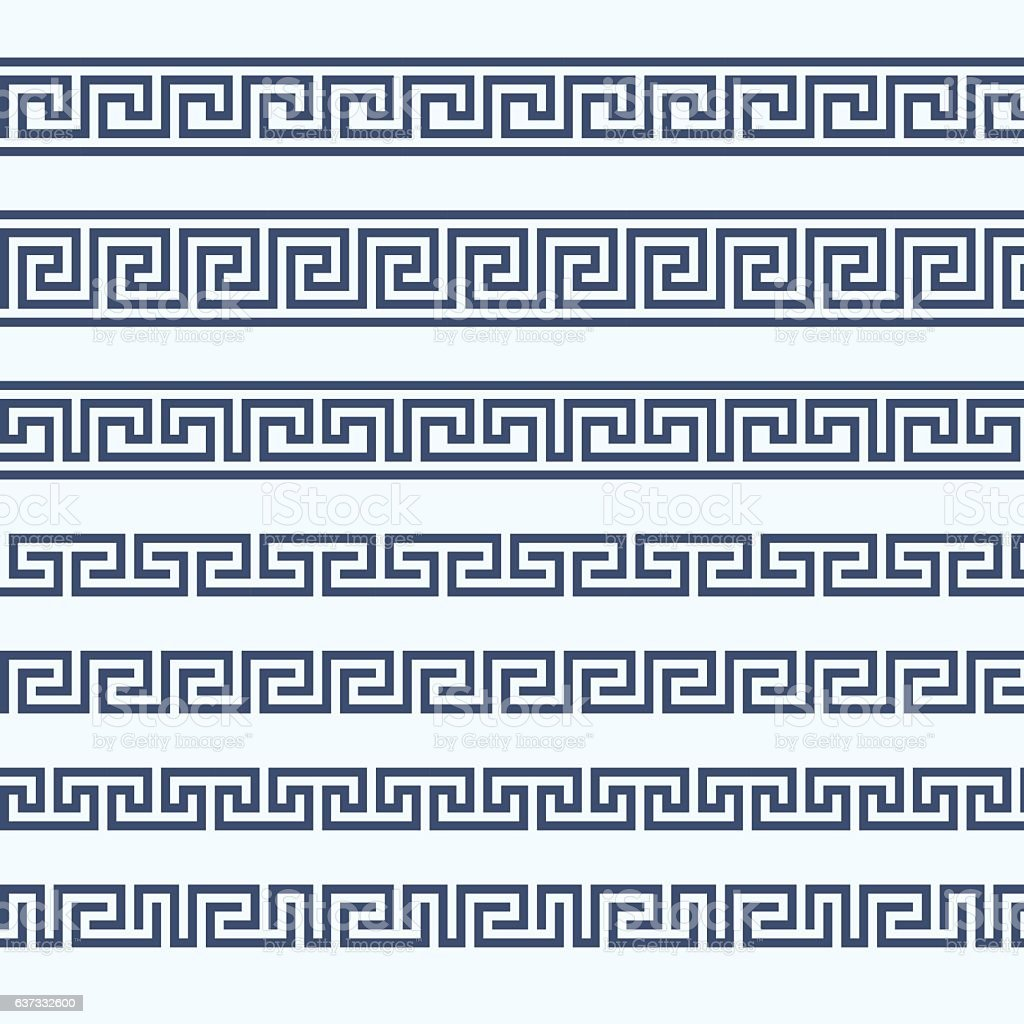 Greek pattern border - grecian ornament vector art illustration