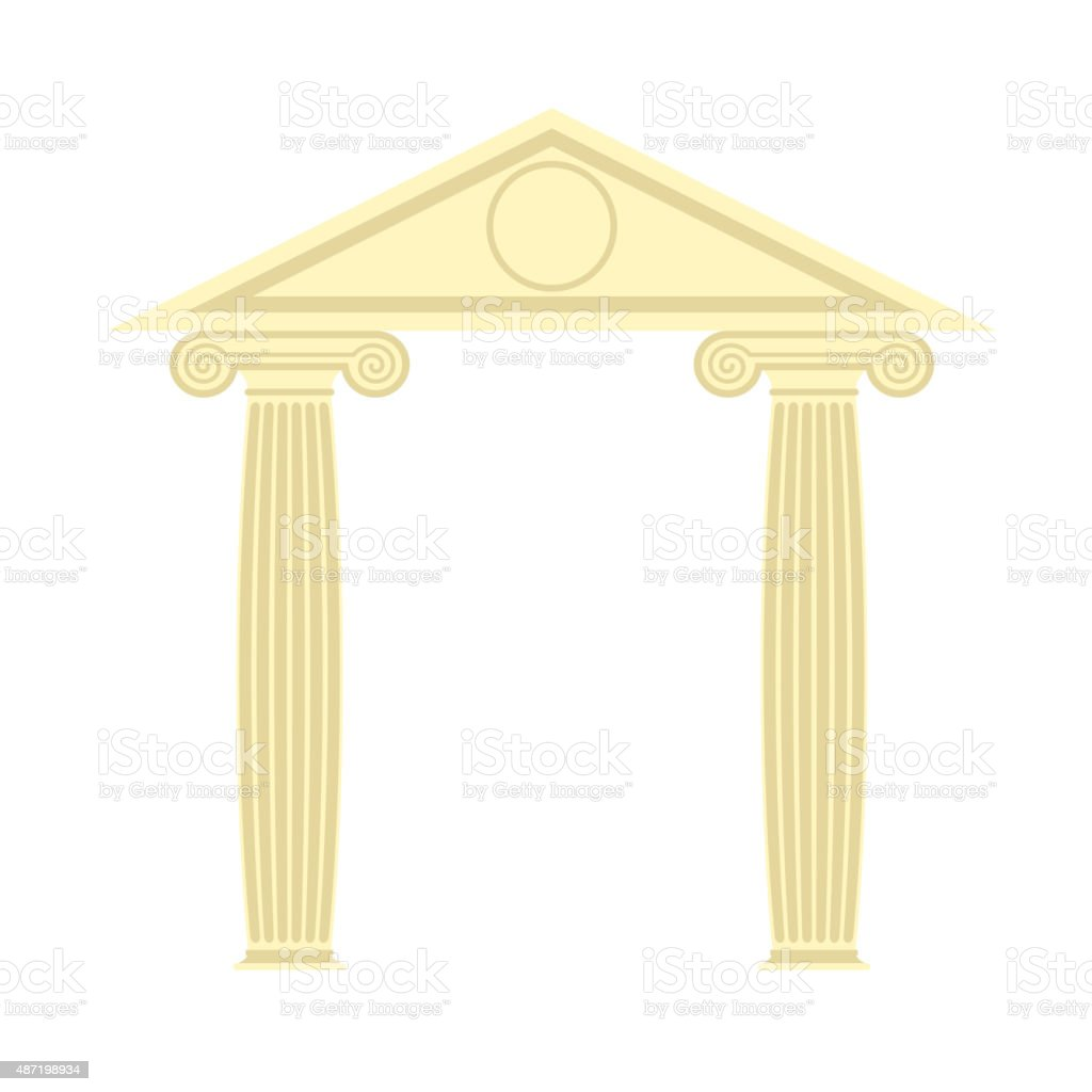 Greek Portico. Greek temple. Two column and roof. vector art illustration