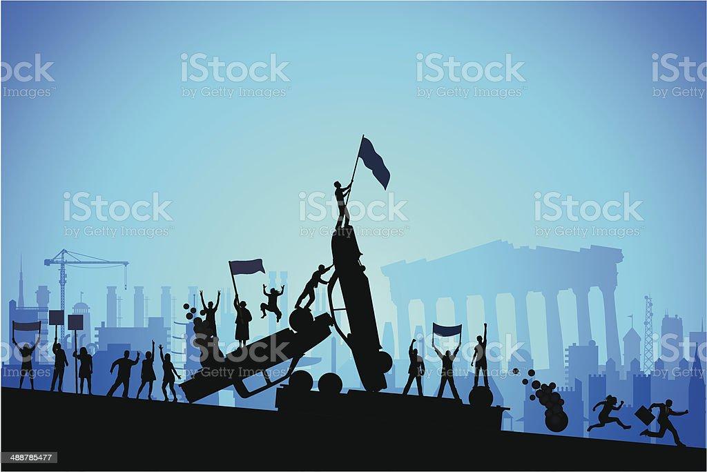 Greek Riot vector art illustration
