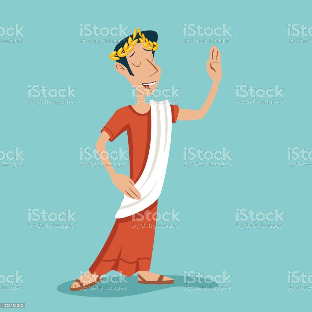 Greek Roman Retro Vintage Businessman Cartoon Character Icon on Stylish vector art illustration
