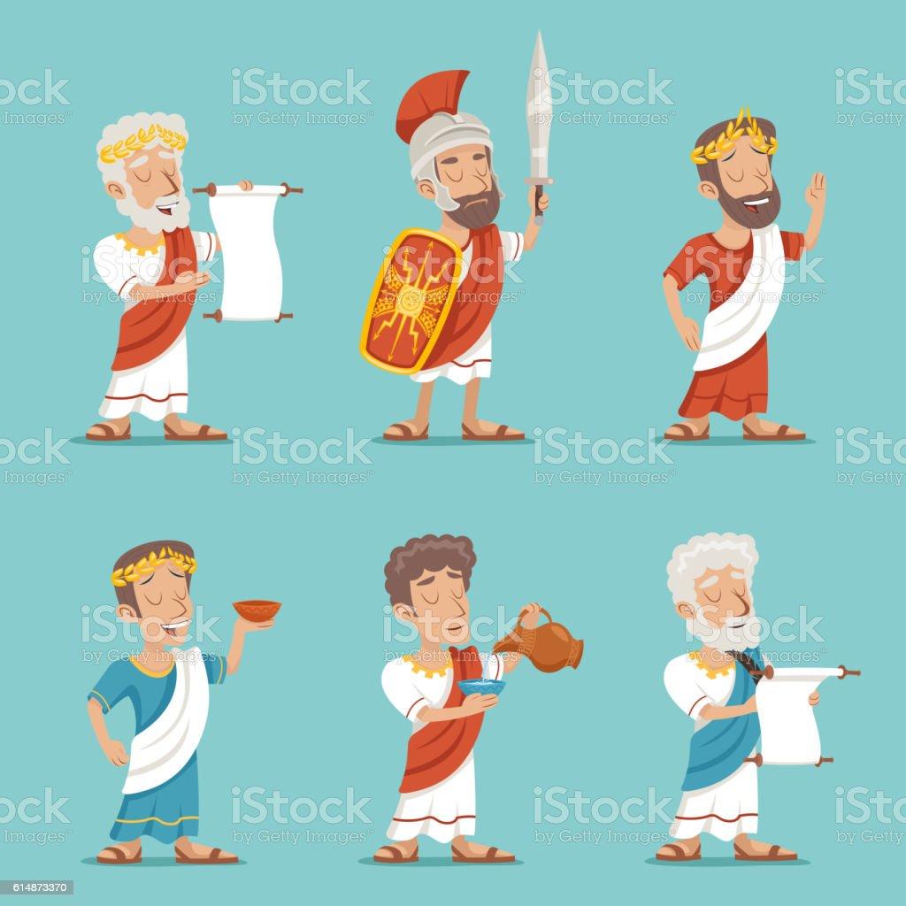Greek Roman Retro Vintage Character Icon Set Cartoon Design Vector vector art illustration