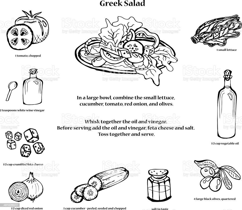 Greek salad recipe. Black and white vector art illustration
