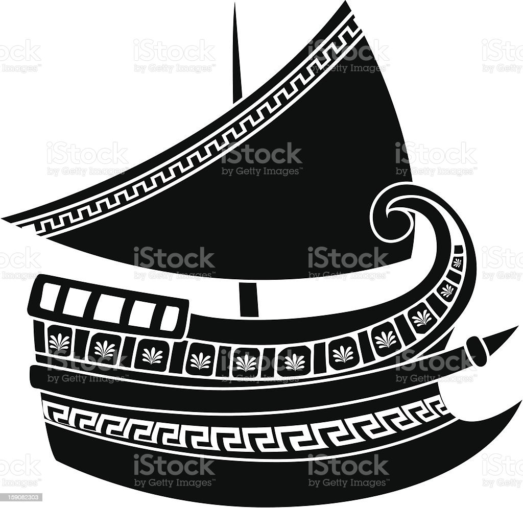 Greek ship stencil royalty-free stock vector art