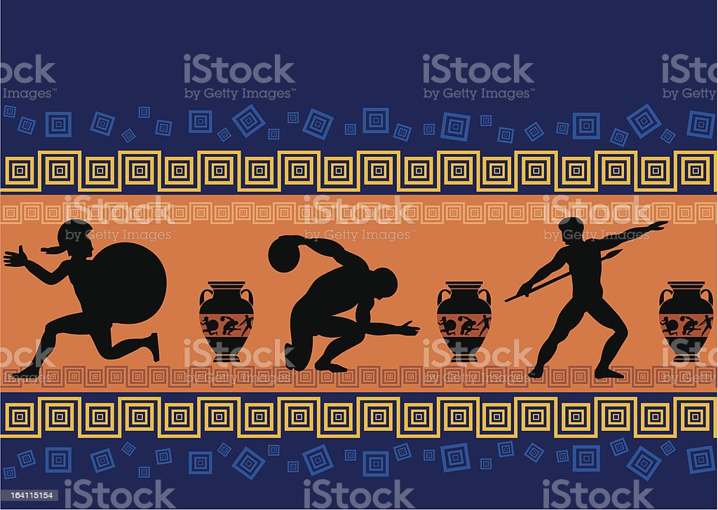 Greek sporting and warrior figures on a frieze vector art illustration