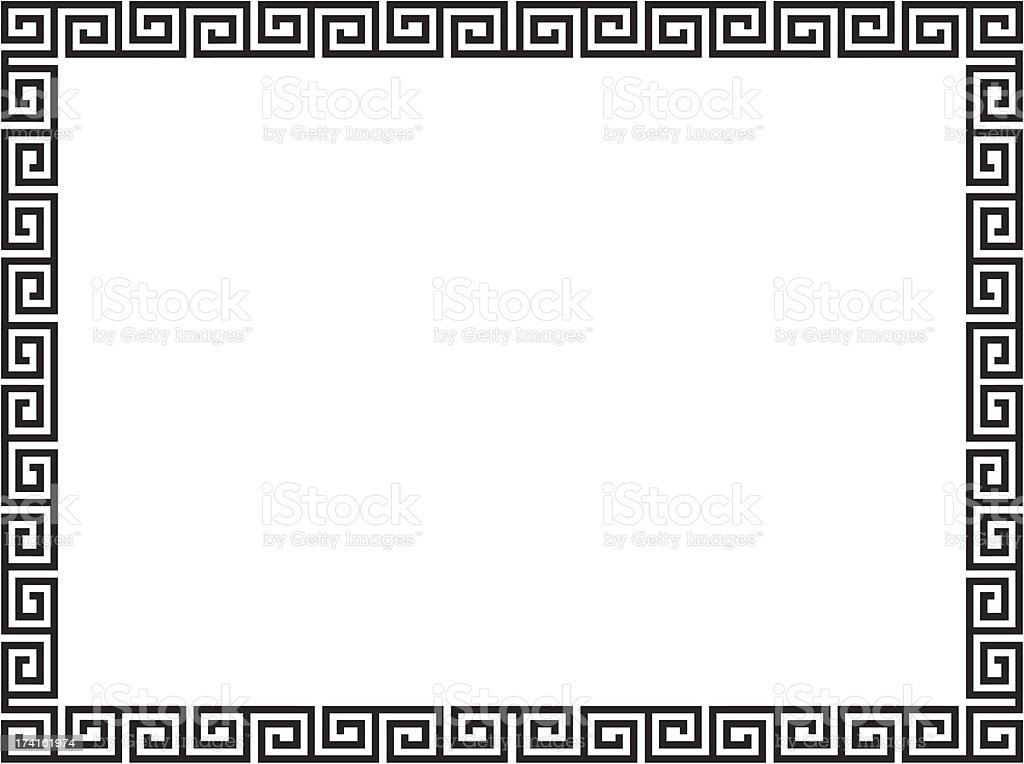 Greek style black ornamental decorative frame vector art illustration