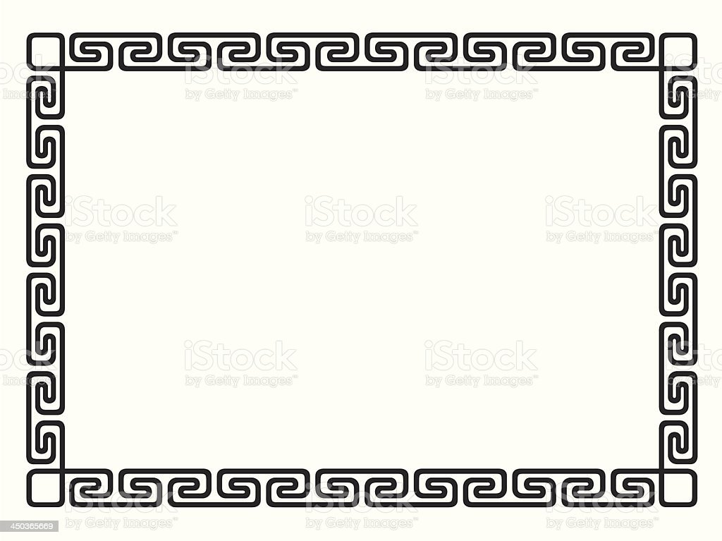 Greek style black ornamental decorative frame royalty-free stock vector art