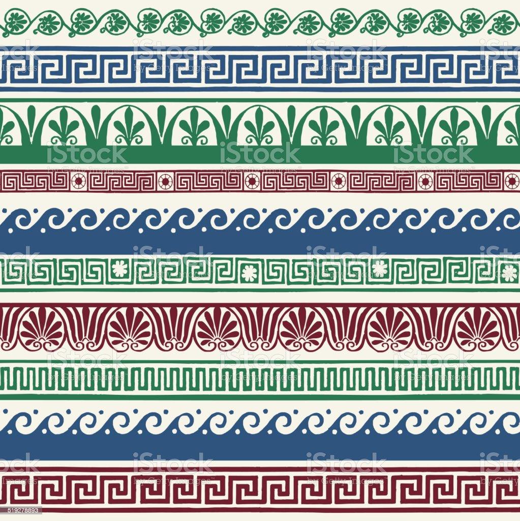 Greek style seamless borders - hand drawing vector art illustration
