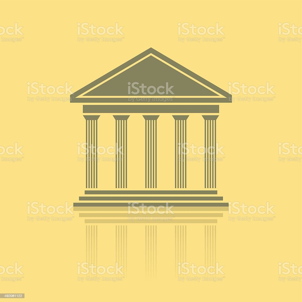 greek temple front vector art illustration