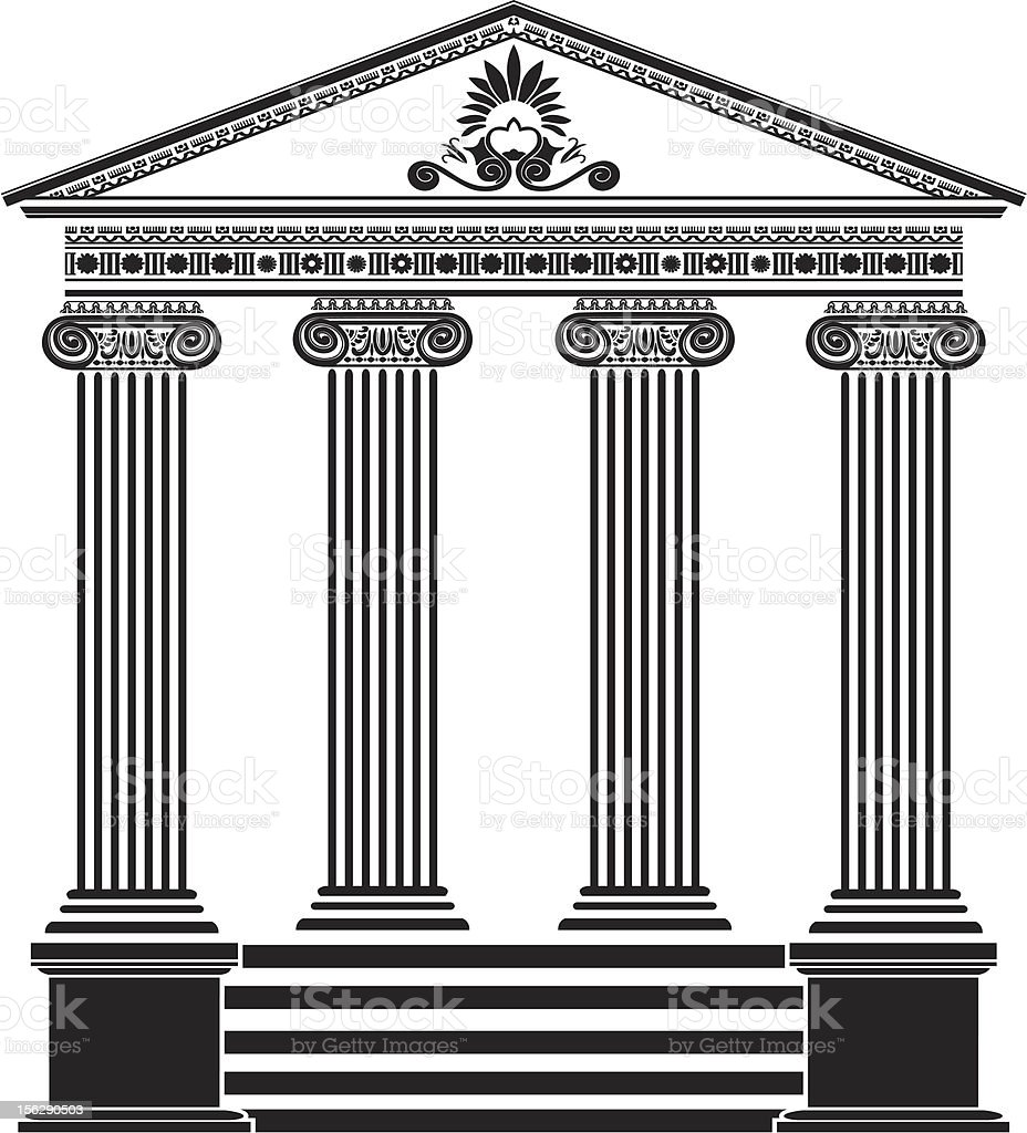 Greek temple stencil third variant vector art illustration