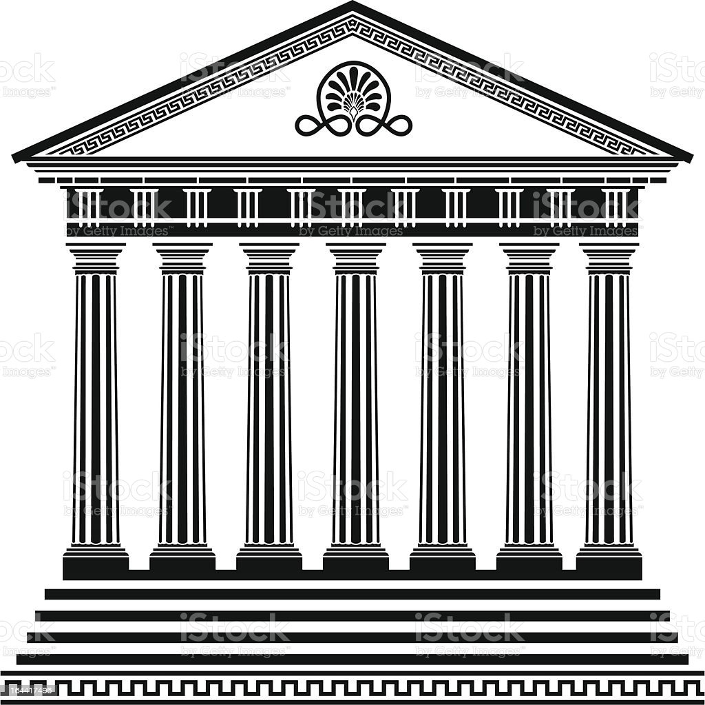 Greek temple stencil vector art illustration