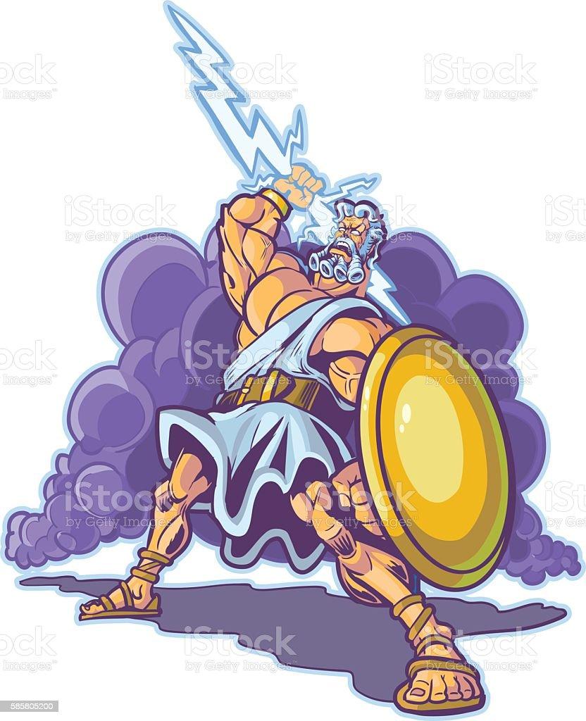 Greek Thunder God or Titan Mascot Vector Cartoon vector art illustration