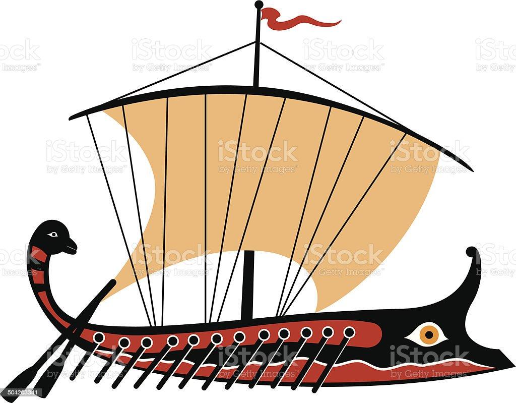 Greek trireme vector art illustration