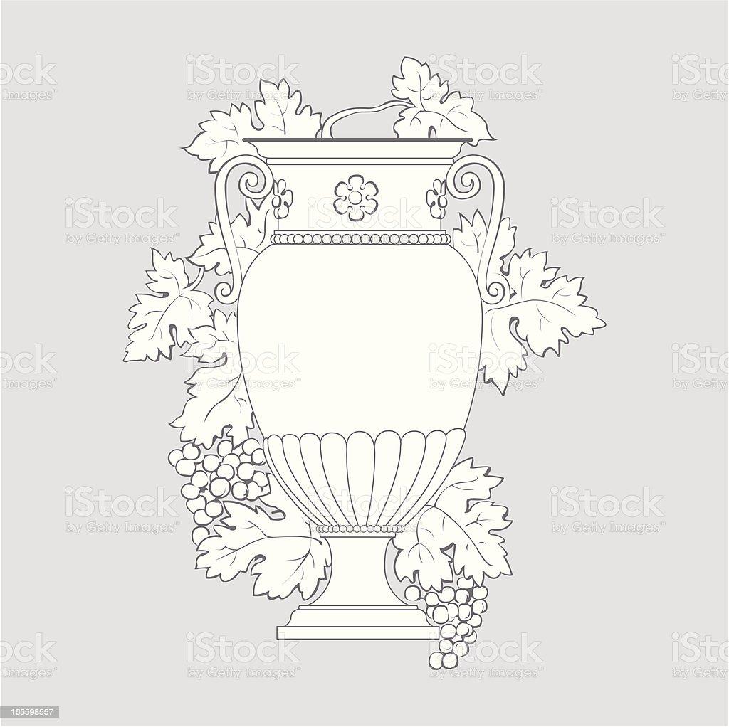 Greek vas with grapes and leaf vector art illustration
