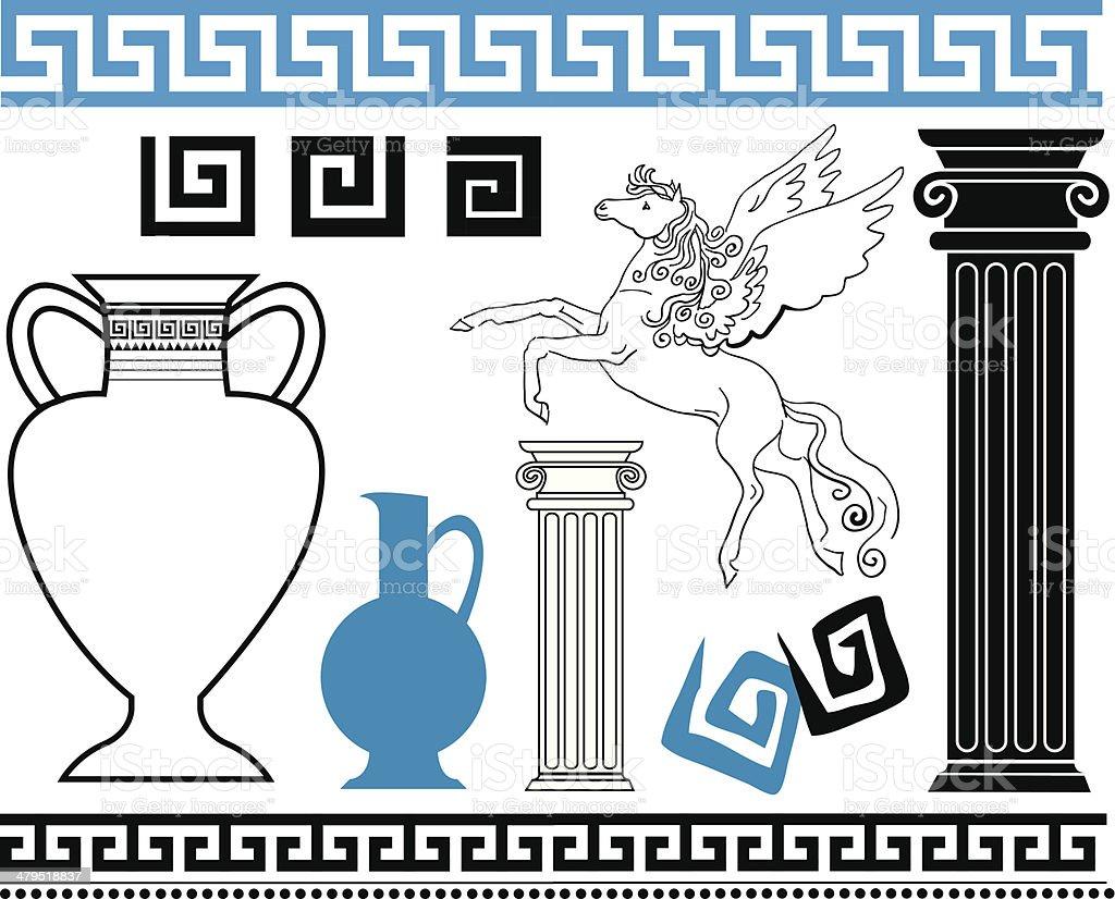 Greek vector art illustration