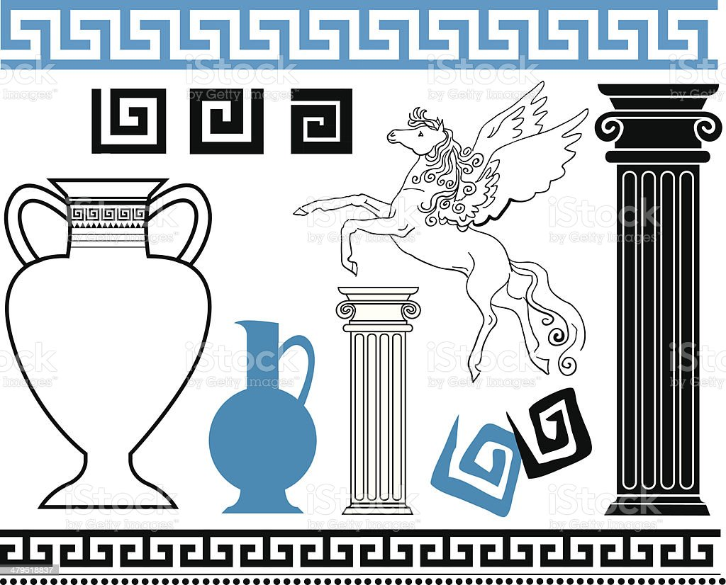 Greek vector art illustration