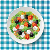 Greek vegetable salad tomatoes fresh feta cheese vector illustration