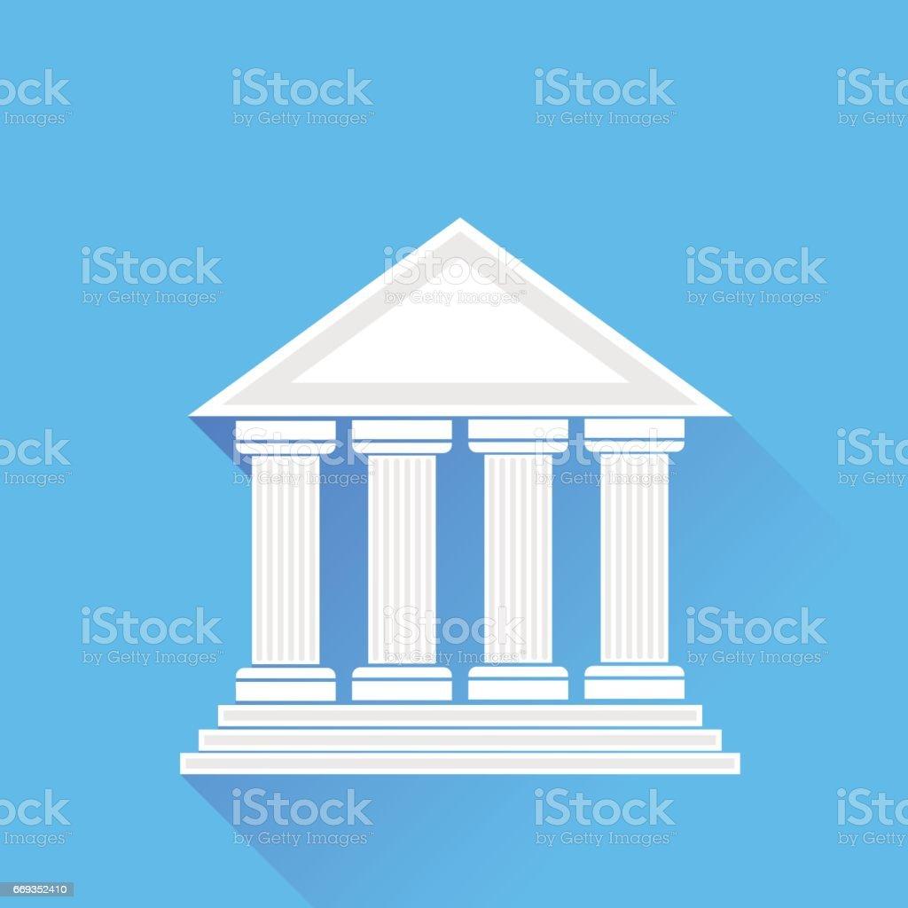 Greek White Temple vector art illustration