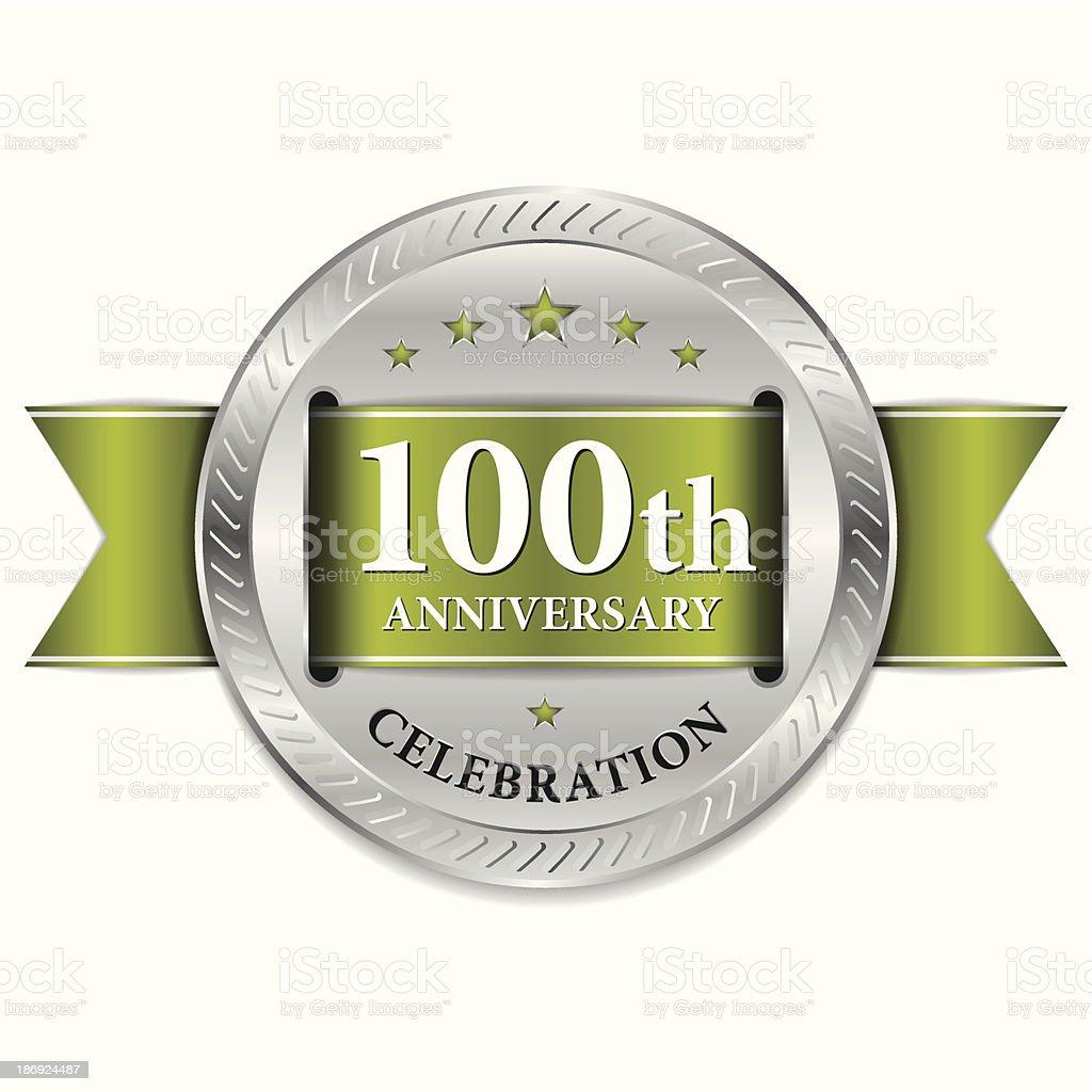 Green 100th anniversary seal vector art illustration