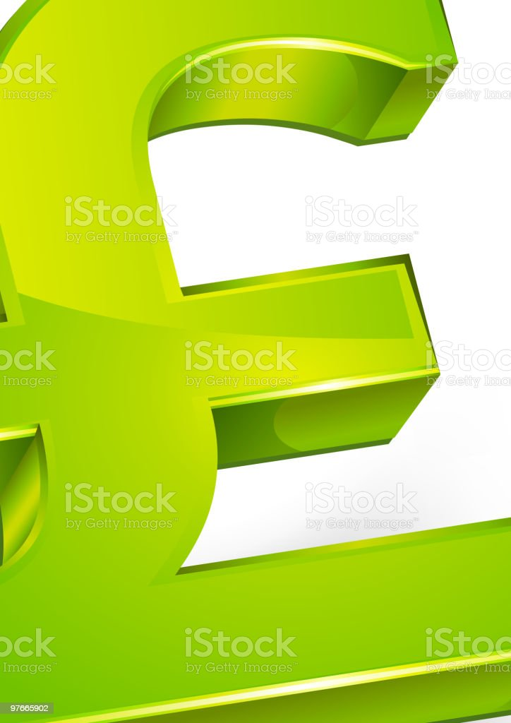 A green 3D pound symbol on a white background royalty-free stock vector art