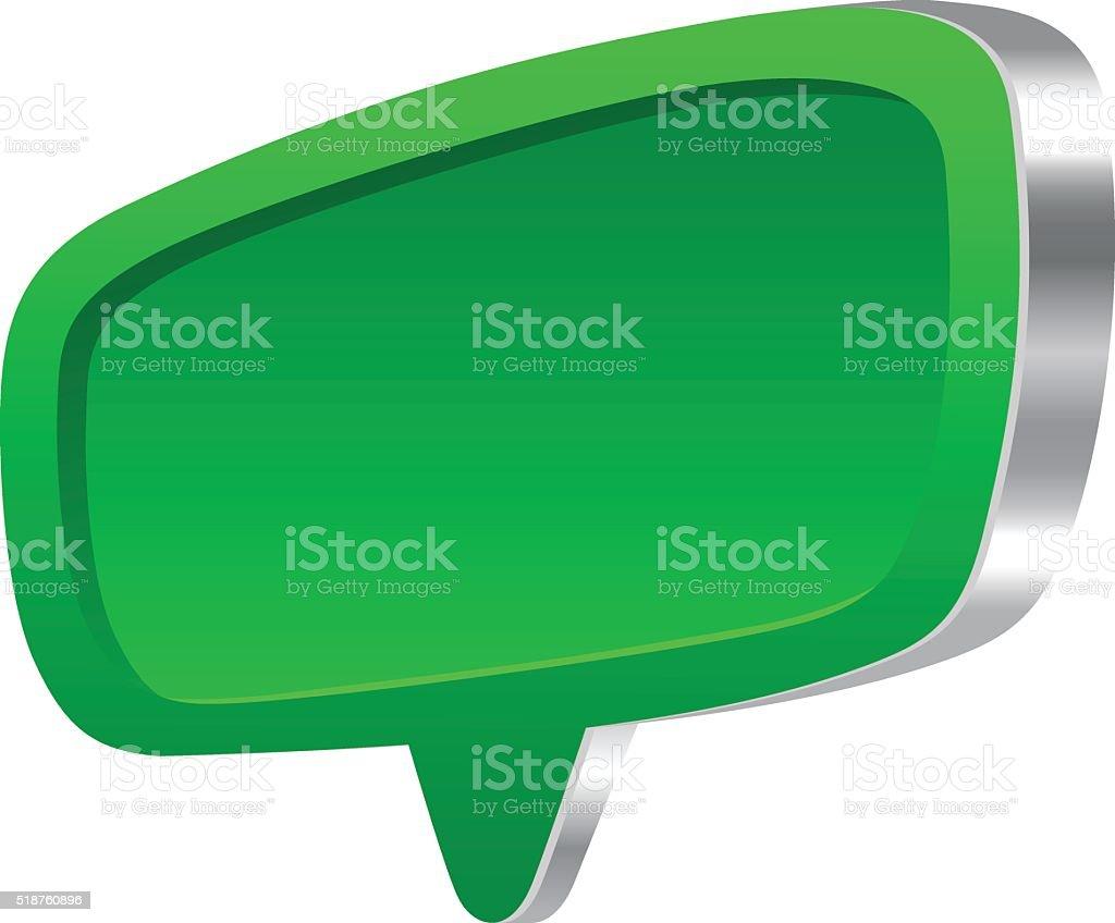 Green 3d speech bubble vector art illustration