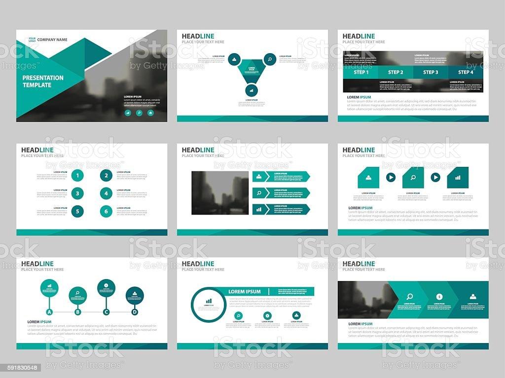 Green Abstract presentation templates, Infographic elements template flat design set vector art illustration