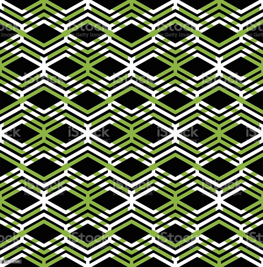 Green abstract seamless pattern with interweave lines. Vector vector art illustration