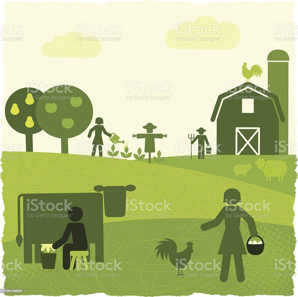 Green Agriculture (GreenWorld Series) vector art illustration