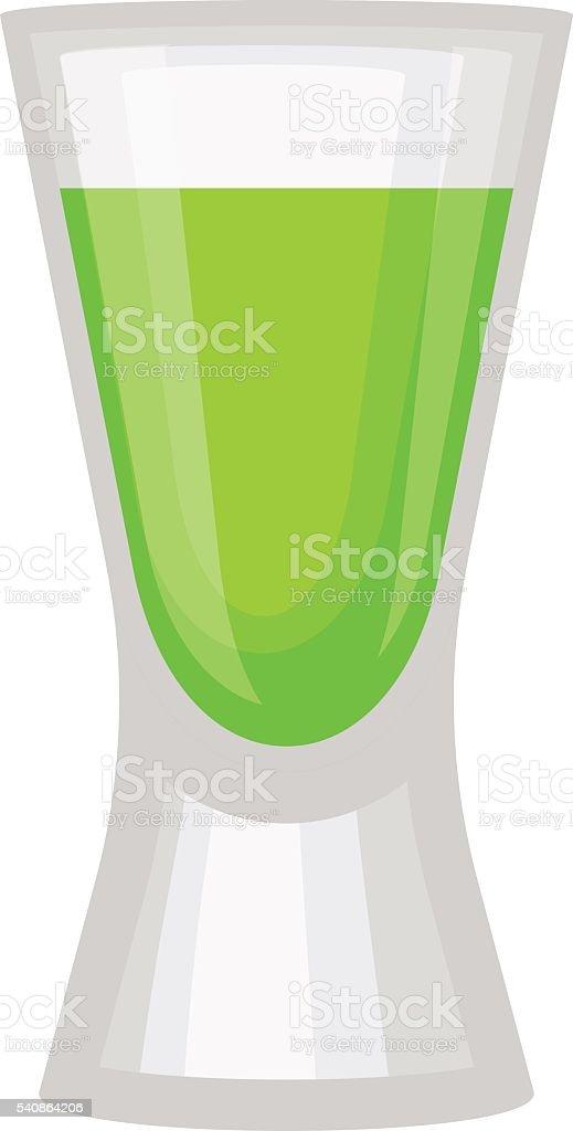 Green alcholol cocktail vector illustration. vector art illustration